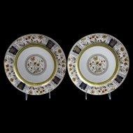 Pair Brown Transferware / Polychrome Plates ca. 1880s