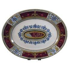 English Aesthetic Transferware Polychrome Platter  - 1880