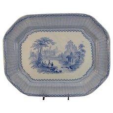 Large Staffordshire Blue Transferware Platter ca. 1834 - 1859