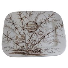 Enormous Aesthetic Rectangular Brown Transferware Platter - Bird & Deer 1883 (40% OFF)