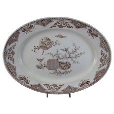 Large Aesthetic Brown Transferware English Platter - 1879