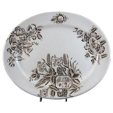 English Aesthetic Movement Brown Transferware Platter - 1880s (40% OFF)