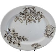 English Aesthetic Movement Brown Transferware Platter - 1880s