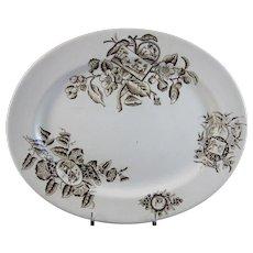 English Aesthetic Movement Brown Transferware Platter - 1880s