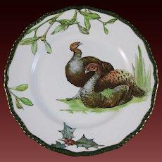 English Victorian Transferware Plate - Doulton Turkeys, Holly & Mistletoe 1904