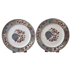 Pair English Aesthetic Movement Transferware Plates 1879