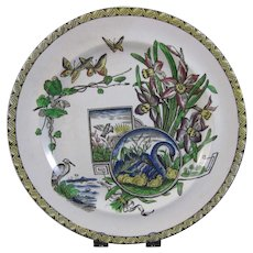 Large Aesthetic Transferware / Polychrome Plate - Birds, Butterflies, Flora 1880s - 50% OFF