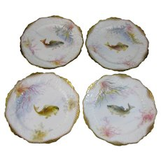 Set/4 English Victorian George Jones Hand Painted Fish Plates ca. 1890 (40% OFF)