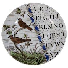 Victorian Staffordshire Child's ABC Plate - Birds c. 1884