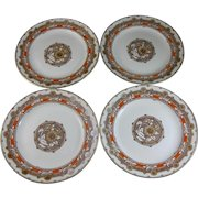 Set of 4 Aesthetic Movement Brown / Polychrome Transferware Large Plates - Daisies c. 1884
