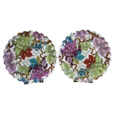 Pair of Victorian Polychrome Transferware Plates c. 1878