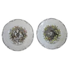 Pair Victorian Brown / Polychrome Transferware Plates - Youth & Old Age - c. 1840s (40% OFF)