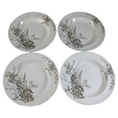 Set/4  English Victorian Brown Transferware Soup Plates c. 1888
