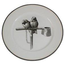 Large Victorian Brown Transferware Plate - Birds ca. 1875