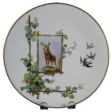 Victorian Brown / Polychrome Transferware Cabinet Plate - Buck ca. 1879