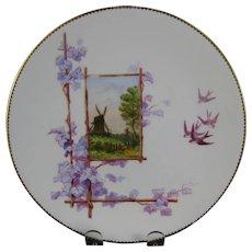 Victorian Brown / Polychrome Transferware Cabinet Plate - Windmill & Birds ca. 1879