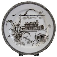 Aesthetic Brown Transferware Plate - Toronto & Boston ca. 1884