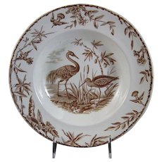 Aesthetic Brown Transferware Soup Plate - Birds ca. 1877 (5 available)