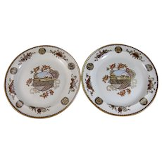 Pair Aesthetic Japonisme Brown Transferware / Polychrome Wedgwood Plates - 1882