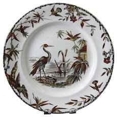 Aesthetic Brown Polychrome Transferware Plate - Birds 1877 (4 available)