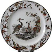 Aesthetic Brown Polychrome Transferware Plate - Birds 1877 (3 available)