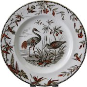 Aesthetic Brown Polychrome Transferware Plate - Birds 1877