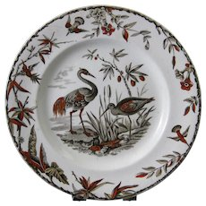 Aesthetic Brown Polychrome Transferware Plate - Birds 1877