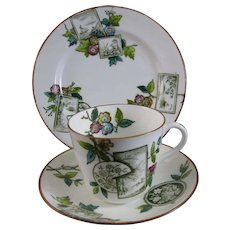 Aesthetic Movement Transferware Cup, Saucer & Plate Trio 1884