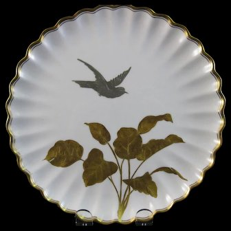 Aesthetic English Gold & Silver Encrusted Cabinet Plate - Birds 1886