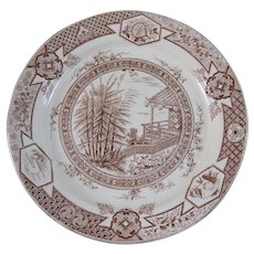 Aesthetic Brown Transferware - Large Plate 1881