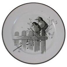 Victorian Brown Transferware Plate - Pair of Birds ca. 1875