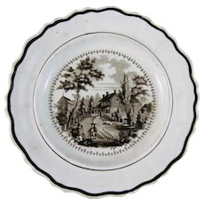 Historical Brown Transferware Staffordshire Plate - ca. 1828-41 (40% OFF)