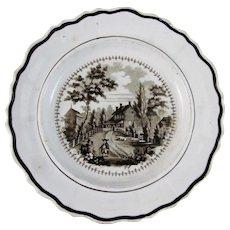 Historical Brown Transferware Staffordshire Plate - ca. 1828-41