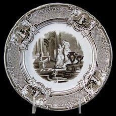 Victorian Staffordshire Brown Transferware Plate ca.1834-59