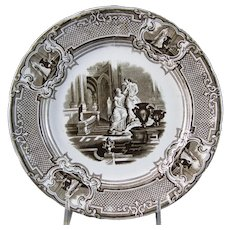 Victorian Staffordshire Brown Transferware Plate ca.1834-59 (40% OFF)