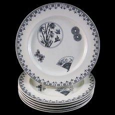 Set of 6 Aesthetic Black Transferware Dinner Plates 1880s