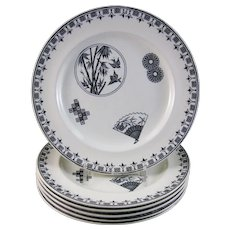 Set of 6 Aesthetic Black Transferware Dinner Plates 1880s (50% OFF)