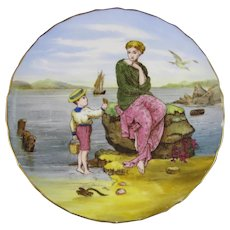 English Victorian Cabinet Plate - Seaside Scene - Child & Mother 1870-80s