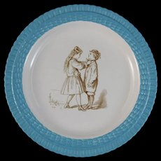 English Victorian Plate - Big Sister & Little Brother - ca. 1877