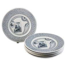 Set / 6 Large Aesthetic Transferware Plates - ca. 1880