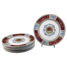 Set/8 Victorian Aesthetic Movement Transferware Polychrome Plates - 1880