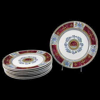 Set/8 Victorian Aesthetic Movement Transferware Polychrome Plates - 1880 (40% OFF)