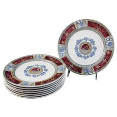 Set/8 Victorian Aesthetic Movement Transferware Polychrome Plates - 1880