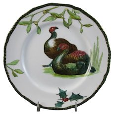 English Victorian Transferware Plate - Doulton Turkeys, Holly & Mistletoe - 1905