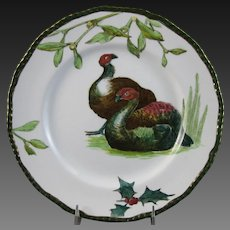 English Victorian Plate - Doulton Turkeys, Holly & Mistletoe