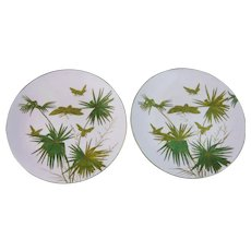 Pair of Unusual English Aesthetic Movement Plates – Insects  - 1880s