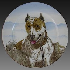 Large Antique Victorian Cabinet Plate – English Bull Terrier ca. 1905