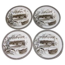 Set/4  Aesthetic Brown Transferware Soup Plates - 1884 (40% OFF)