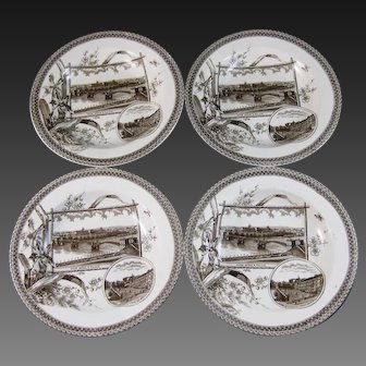 Set/4  Aesthetic Brown Transferware Soup Plates - 1884