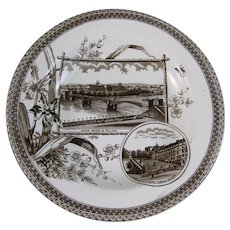 Aesthetic Brown Transferware Soup Plate - 1884